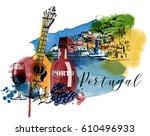 portugal landscape. watercolor...   Shutterstock .eps vector #610496933
