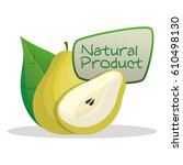 pear natural product label... | Shutterstock .eps vector #610498130