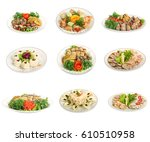 set of festive meals of meat... | Shutterstock . vector #610510958