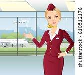 nice flight attendant pointing... | Shutterstock .eps vector #610512176