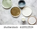 ceramic tableware top view on... | Shutterstock . vector #610512524