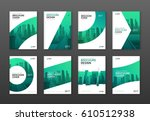 Brochure cover design layout set  for business and construction. Abstract geometry with colored cityscape vector illustration on background. Good for annual report, magazine, flyer, leaflet, poster. | Shutterstock vector #610512938