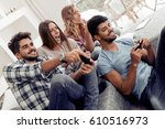 group of friends having fun and ... | Shutterstock . vector #610516973