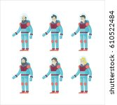 colorful flat astronauts set... | Shutterstock .eps vector #610522484