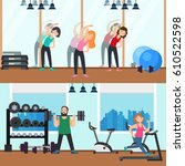 fitness horizontal banners with ... | Shutterstock .eps vector #610522598