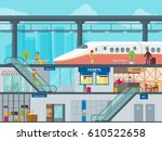 colorful train station flat... | Shutterstock .eps vector #610522658
