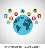 social media network icons... | Shutterstock .eps vector #610523084
