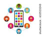 social media network icons... | Shutterstock .eps vector #610523243