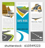 road trip and travel banner... | Shutterstock .eps vector #610549223
