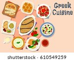 greek cuisine tasty dishes icon ... | Shutterstock .eps vector #610549259