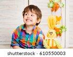 smiling happy toddler boy... | Shutterstock . vector #610550003