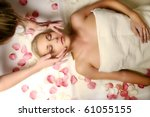 woman lying on the massage | Shutterstock . vector #61055155