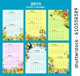 easter year calendar template... | Shutterstock .eps vector #610558589
