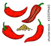 pepper drawing. isolated on...   Shutterstock .eps vector #610559660