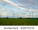 wind turbine farm   environment ... | Shutterstock . vector #610575176