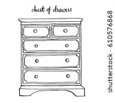 vintage chest of drawers  ... | Shutterstock .eps vector #610576868