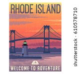 rhode island travel poster or... | Shutterstock .eps vector #610578710