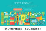 healthy lifestyle concept with...   Shutterstock .eps vector #610580564