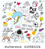 set of colorful doodle on paper ... | Shutterstock .eps vector #610582226
