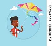 young african american man...   Shutterstock .eps vector #610596194