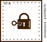 lock and key vector icon.   Shutterstock .eps vector #610598270