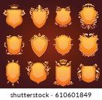 vector set of twelve different... | Shutterstock .eps vector #610601849