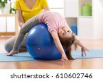 cute child girl stretching on... | Shutterstock . vector #610602746