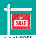 for sale wooden placard. real... | Shutterstock .eps vector #610604246