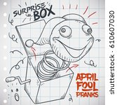 Notebook paper with doodle design with funny prank for April Fools' Day: Jack-in-the-box prank.