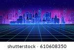 retro futuristic skyscraper... | Shutterstock . vector #610608350