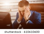 tired business man at workplace ...   Shutterstock . vector #610610600