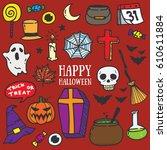 hand drawn halloween  ghost... | Shutterstock .eps vector #610611884