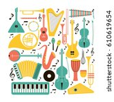 music instruments   vector... | Shutterstock .eps vector #610619654