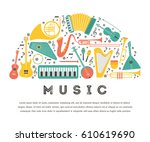 music instruments   vector... | Shutterstock .eps vector #610619690