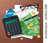 vector tax time concept design... | Shutterstock .eps vector #610621388