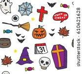 halloween seamless pattern in... | Shutterstock .eps vector #610621628