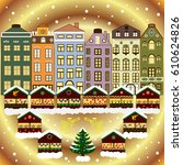 a house in a snowy christmas... | Shutterstock .eps vector #610624826