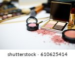 makeup products on blur... | Shutterstock . vector #610625414