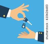 car seller hand giving key to...   Shutterstock .eps vector #610626683
