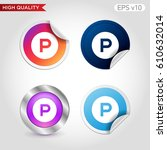 parking icon. button with... | Shutterstock .eps vector #610632014