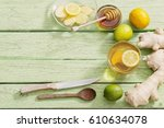 ginger tea and ingredients on a ... | Shutterstock . vector #610634078