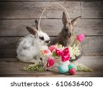 Rabbits With Easter Eggs On...