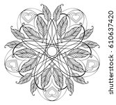 zentangle feather mandala  page ... | Shutterstock .eps vector #610637420