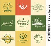 set of vector logo with image... | Shutterstock .eps vector #610641728