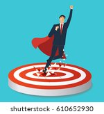 businessman and red cape... | Shutterstock .eps vector #610652930
