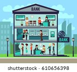bank building with people and... | Shutterstock .eps vector #610656398
