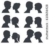 couple faces  young boy and... | Shutterstock .eps vector #610656428