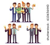 happy friends  business people... | Shutterstock .eps vector #610656440
