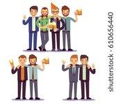 happy friends  business people... | Shutterstock .eps vector #610656440