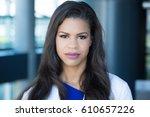 closeup headshot portrait of... | Shutterstock . vector #610657226